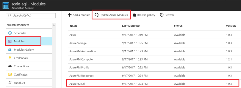 Update Azure Modules