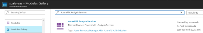 Azure Automation Import Module AnalysisServices