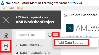 Azure Machine Learning Workbench Add Data Source