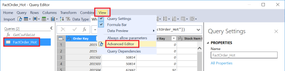 Azure Analysis Services Query Editor