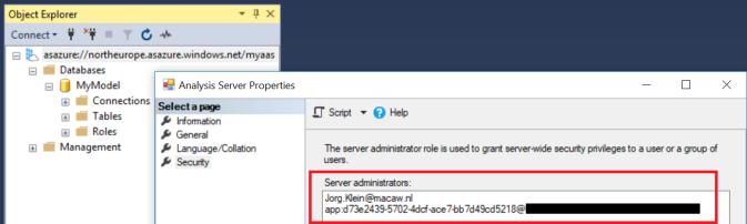 Azure Analysis Services Server administrators