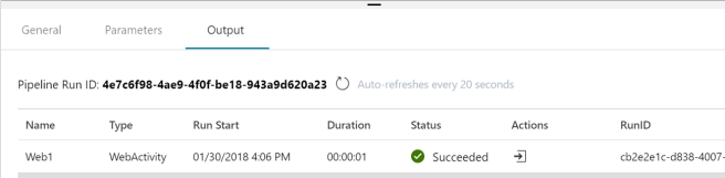 Azure Data Factory v2 Web Activity Output
