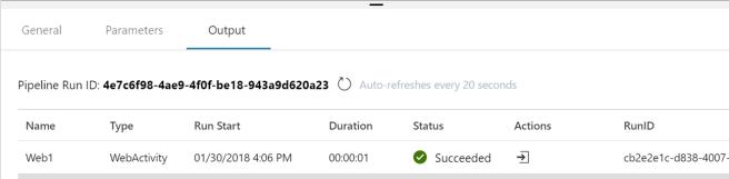 Azure Data Factory v2 Web Activity Output
