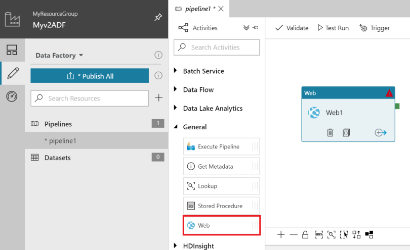 Azure Data Factory v2 Web Activity