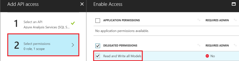 Select permissions Read and Write all Models